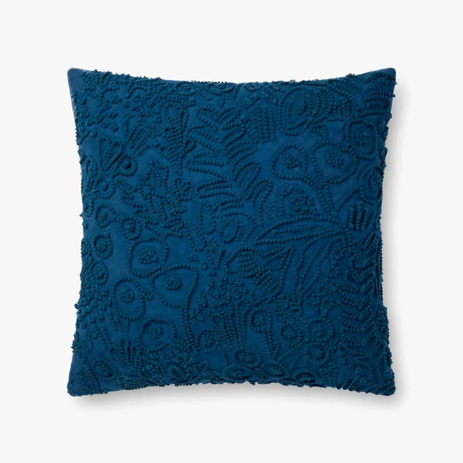Indigo Rose Botanical Pattern Texture Pillow