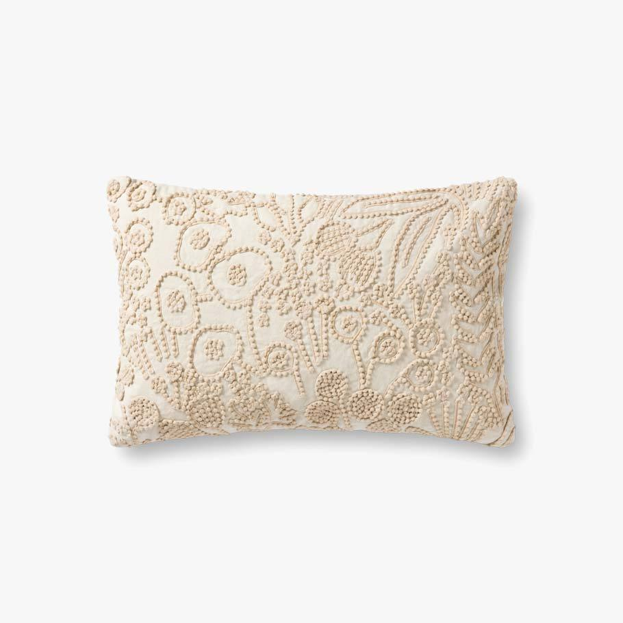 Ivory Botanical Pattern Texture Pillow