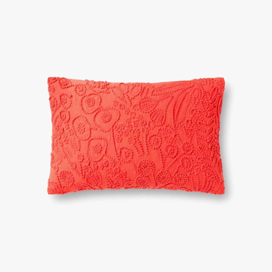 Red Botanical Pattern Texture Pillow