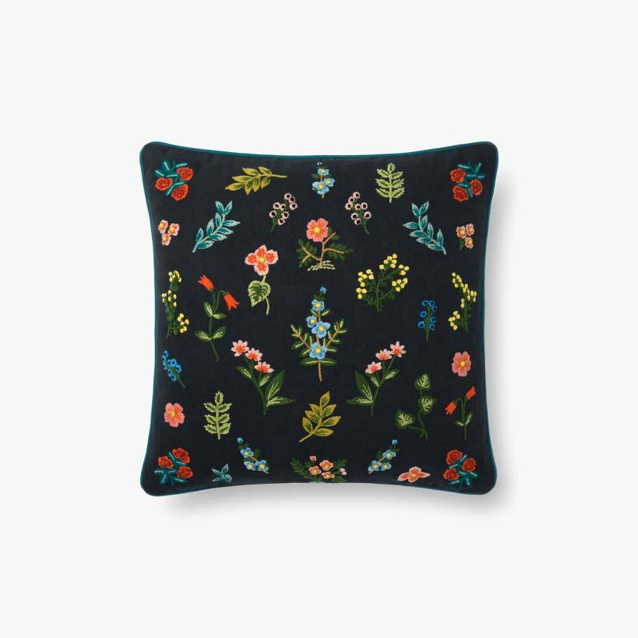 Black Little Flowers Pillow