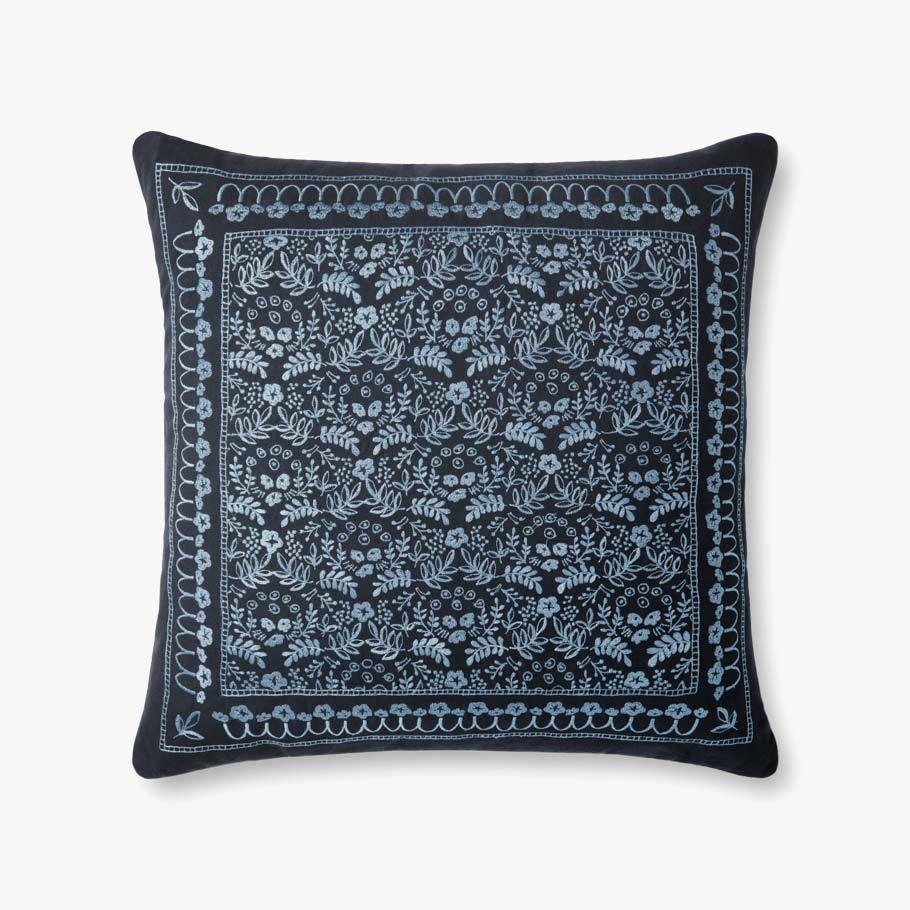 Navy Romantic Floral Pattern Pillow
