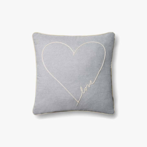 Grey Heart Embroidered Pillow