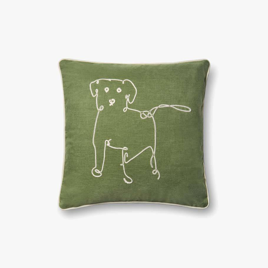 Green Puppy Embroidered Pillow