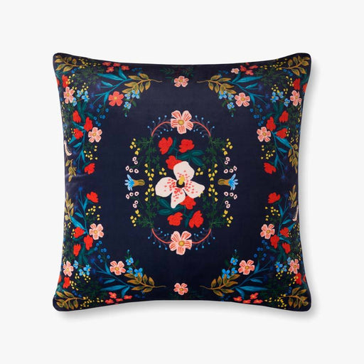 Navy Antique Floral Pillow
