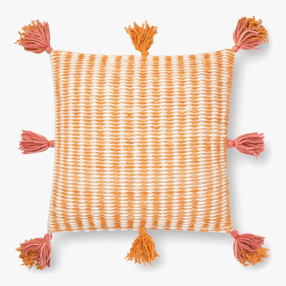 Pink Orange Tassel Pillow