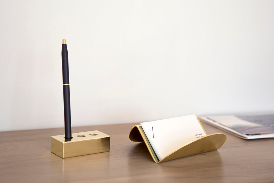 Brass Brick Pen Holder