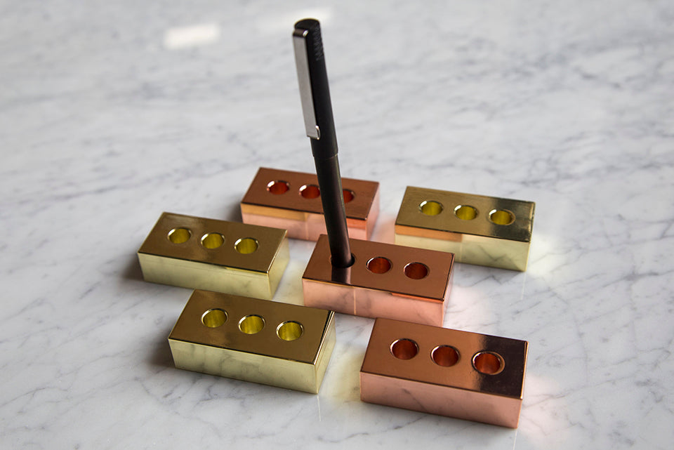 Copper Brick Pen Holder