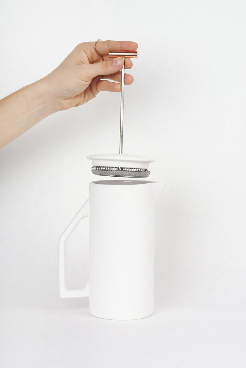 Ceramic White French Press
