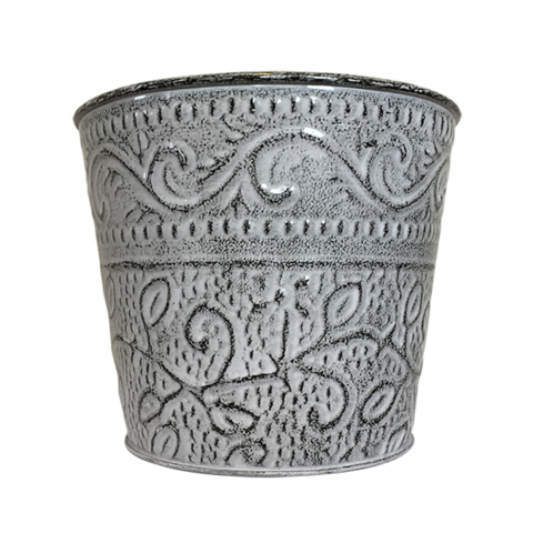 Decorative Ensley Pot - Tin (Antique White)