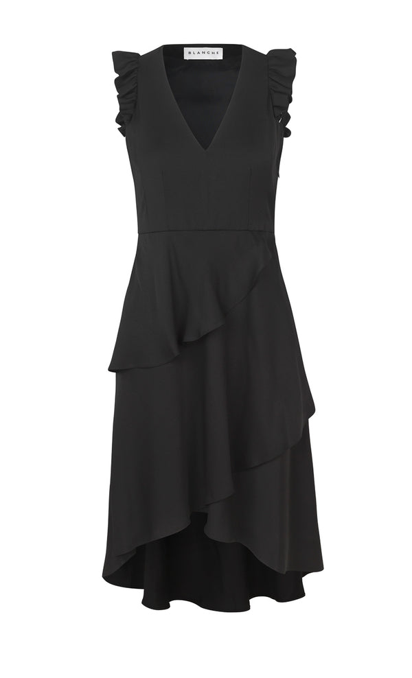 Blanche wadenlanges Nixi Kleid in Black
