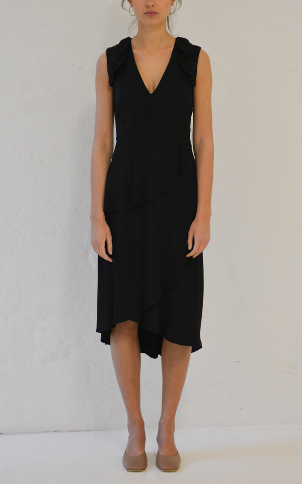 Blanche wadenlanges Nixi Kleid in Black Front