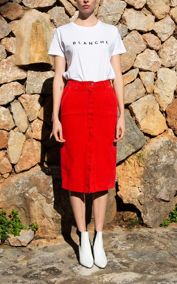 Blanche Aja Cord Skirt on Model