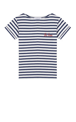 Maison Labiche The Boss Sailor Shirt Kurzarm blau-weiß-gestreift aus Baumwolle in roter Stickerei