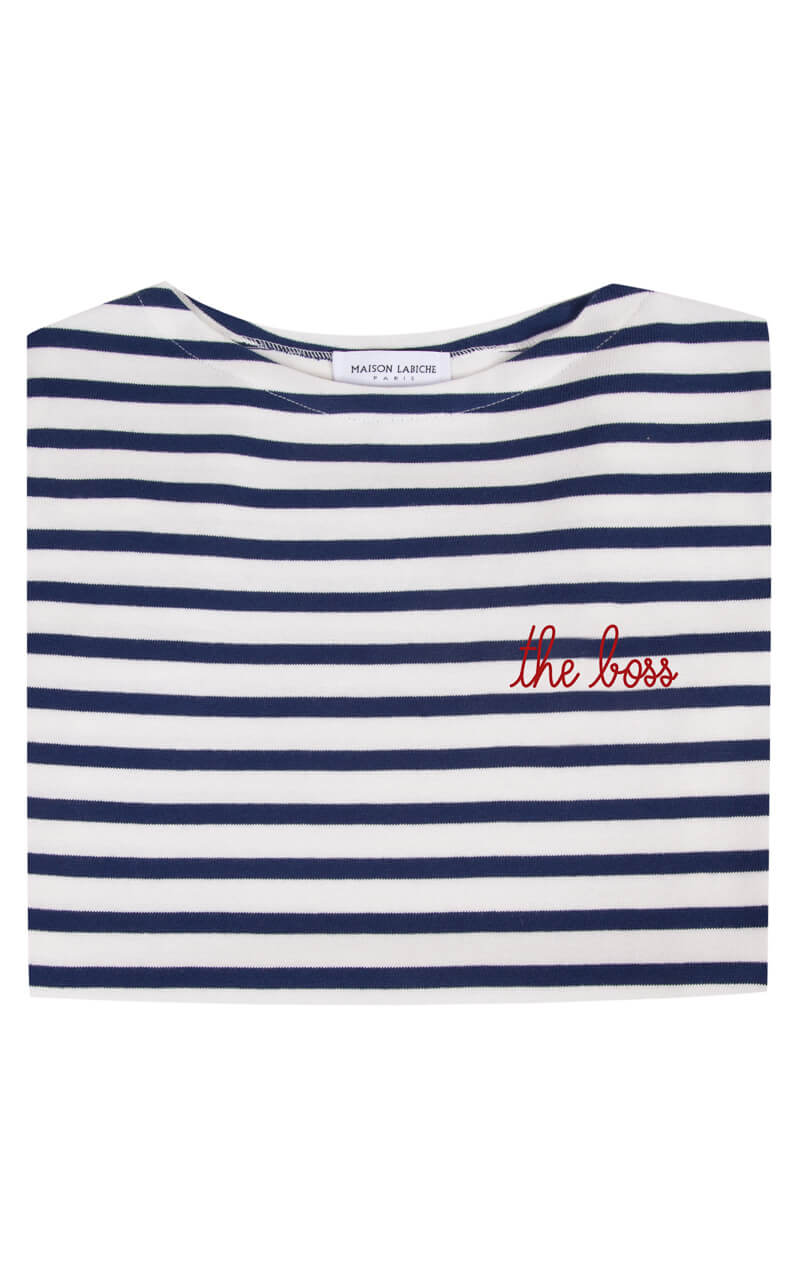 Maison Labiche The Boss Sailor Shirt Kurzarm blau-weiß-gestreift aus Baumwolle in roter Stickerei Detailansicht
