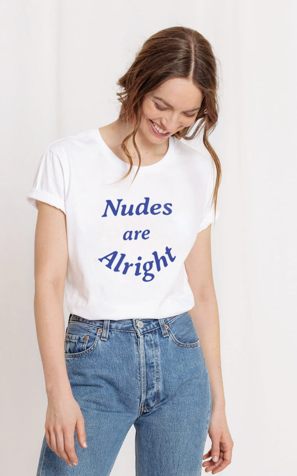 WOMOM T-Shirt Weisse Bio Baumwolle Blauer Print Nudes are Alright