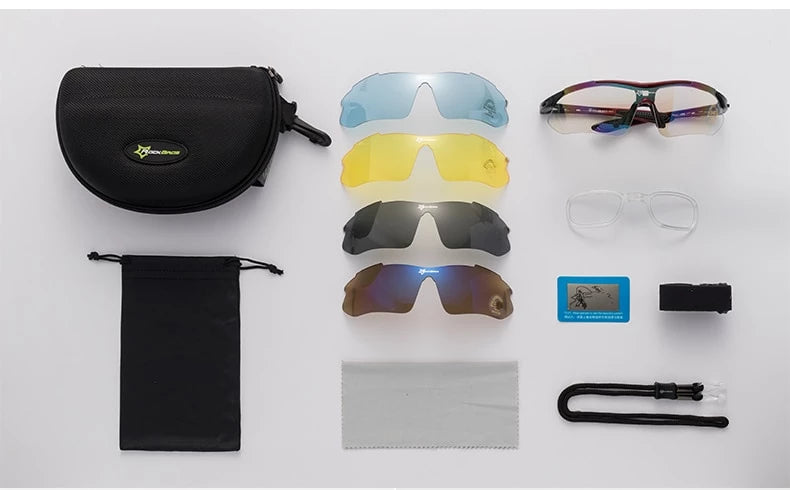 Polarized Sports Prescription Frame Sunglasses with 5 Interchangeable Lenses With UV400 Protection-Bike Accessories-Fit Sports