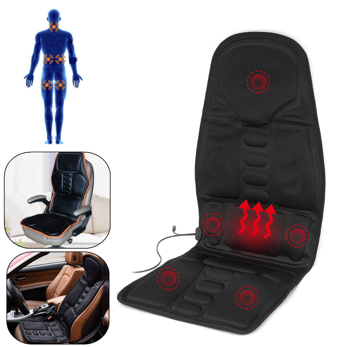 Massage Chair For At Home Car Or Office Body Massager Massage Seat With Heat Option Great For Neck Pain Lumbar Support Legs And Back-Massage Equipment-Fit Sports