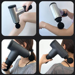 Massage Gun 3800 Rev Per Minute 6 Hrs Usage Quiet Percussion Gun 6 Speeds Cordless Handheld Massager for Deep Muscle Relaxation With Carry Bag-Massage Equipment-Fit Sports