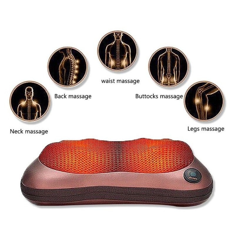 Shiatsu Back and Neck Massager - Kneading Massage Pillow with Heat for Shoulders Lower Back Calf Feet Use at Home-Massage Equipment-Fit Sports