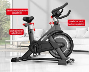 OneTwoFit Indoor Exercise Bike with Monitor Adjustable Seat & Handlebars 26 Lbs Flywheel Cycling Spinning Bike for Home Cardio Workout Home Gym-Cardio & Exercise Equipment-Fit Sports