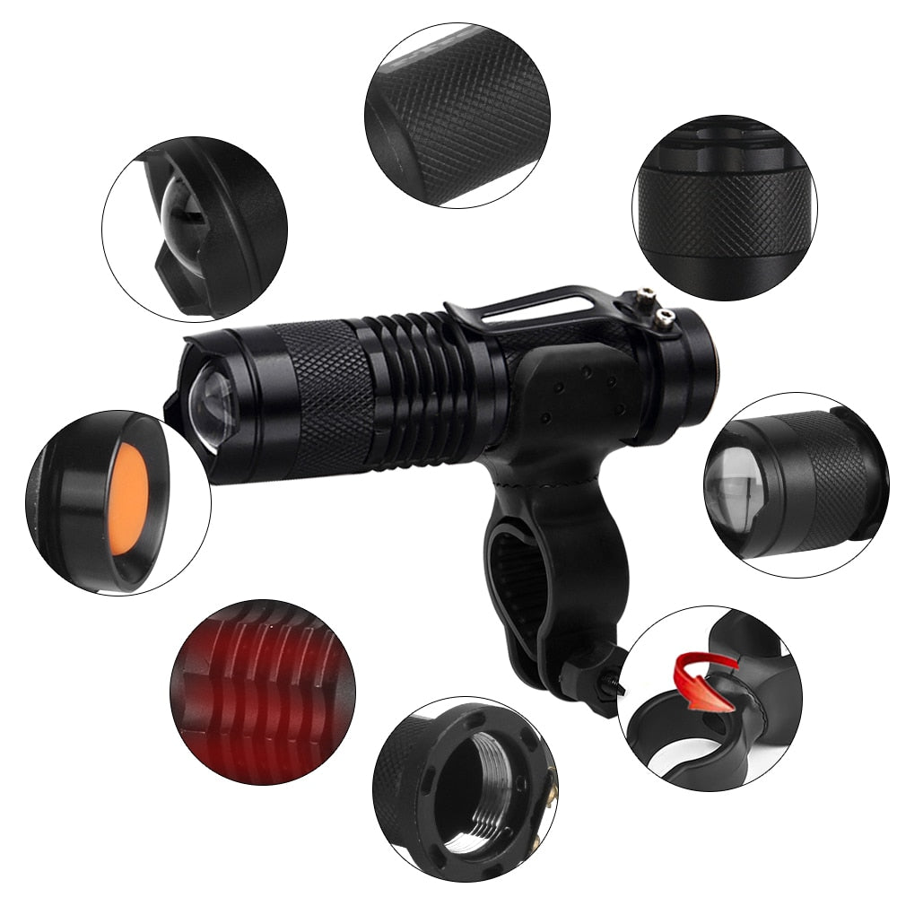 Bike Light, 7 Watt 2000 Lumens, 3 Modes, LED, Waterproof And Telescopic Zoom-Bike Accessories-Fit Sports