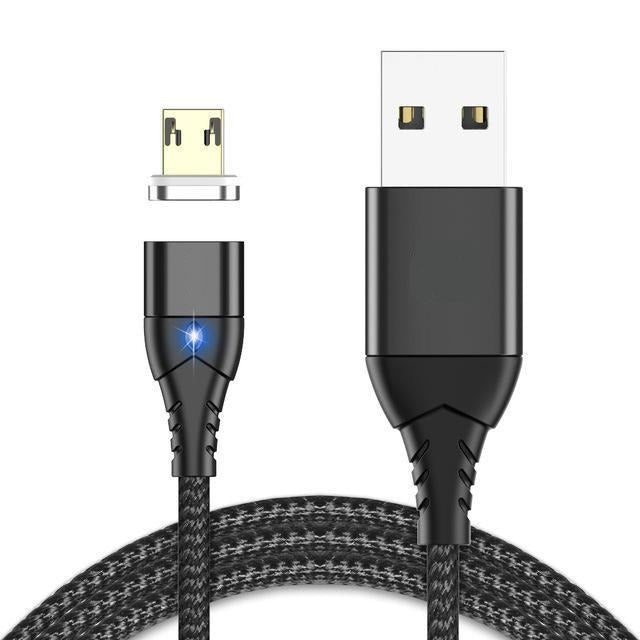 USB Magnetic Braided Charging Cable, Micro USB Type C For iPhone Lighting Cable 1M 3A Fast Charging Wire Type-C-Bluetooth Headphones & Accessories-Fit Sports