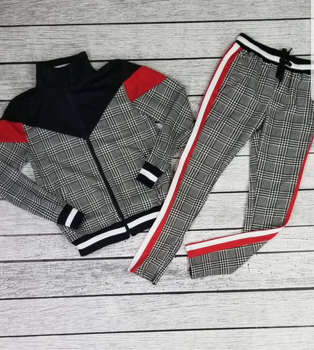 Houndstooth Print Track Set (Red)