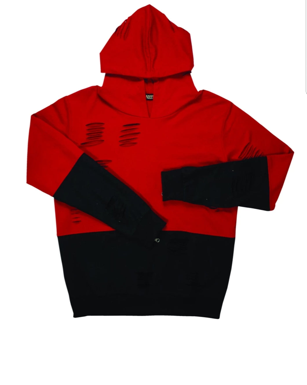 Two Tone Laser Cut Hoodie (Red)