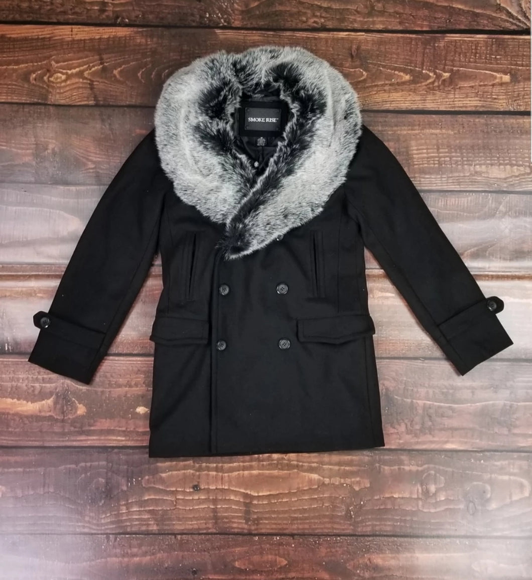 Fur Trim Wool Peacoat (Black)