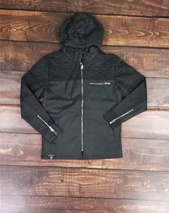 Coated Fleece Jacket (Black)