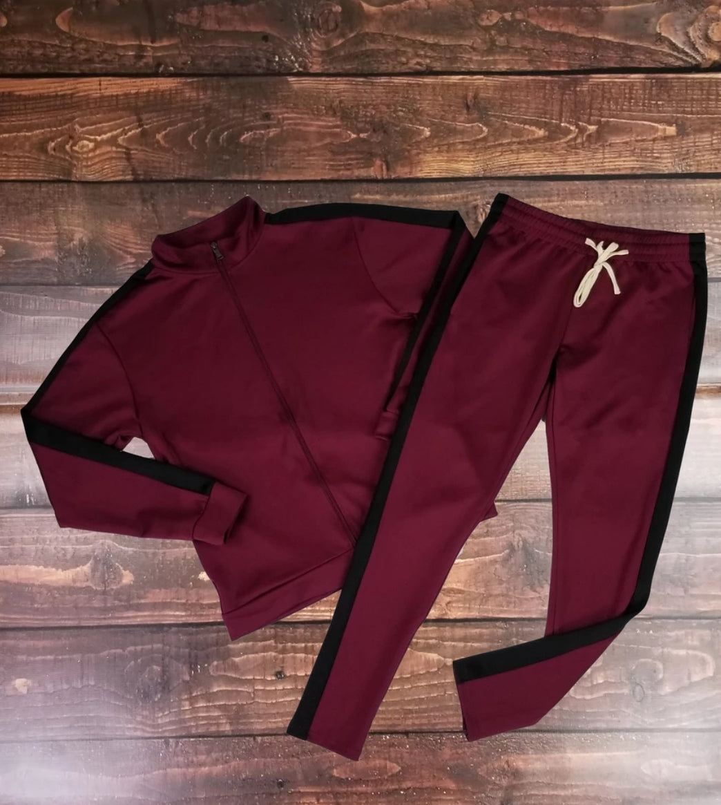 Stripe Track Set ( Burgundy & Black)