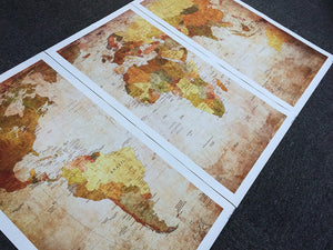 3 Panel Vintage World Map Print