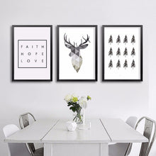 minimalist deer wall art, minimalist deer canvas art