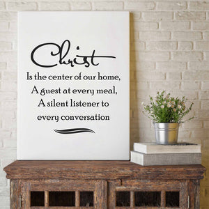 Jesus Christ center of our home quote canvas wall art