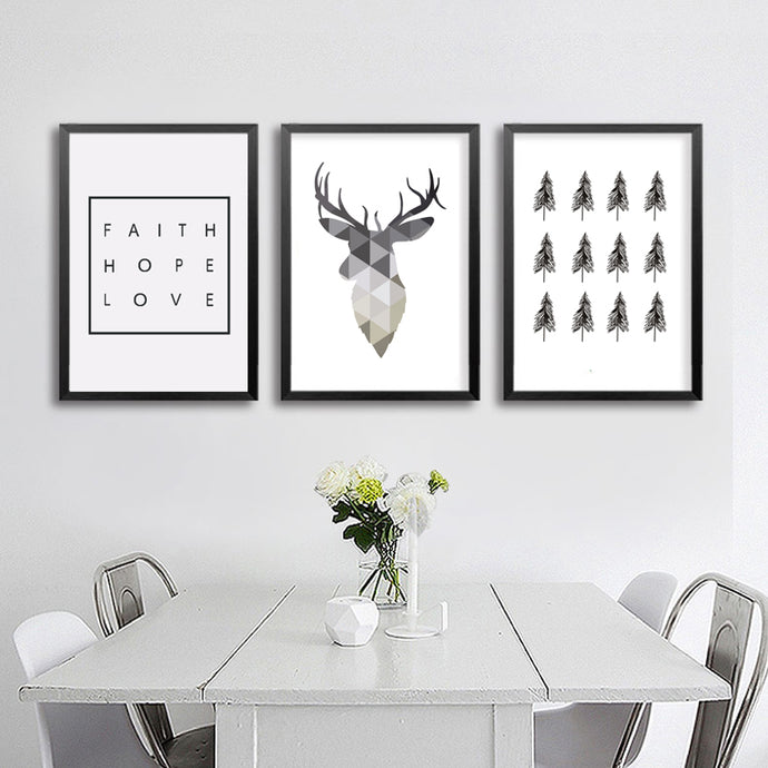 minimalist deer canvas wall art