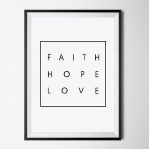 minimalist quote faith hope love canvas wall art