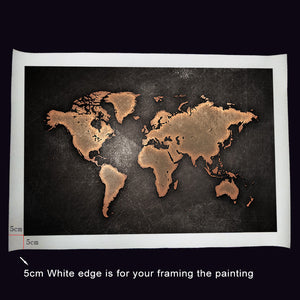 1 Piece World Map Wall Art - Black and Beige