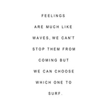 feelings are waves inspirational quote canvas wall art