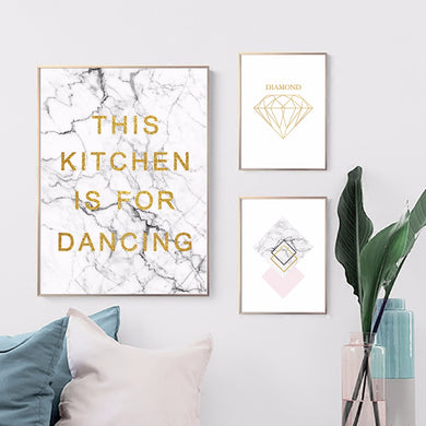 marble kitchen canvas wall art