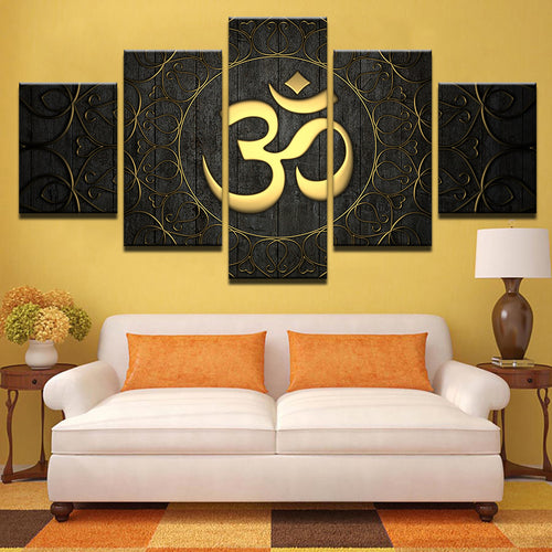 golden om hindu canvas wall art