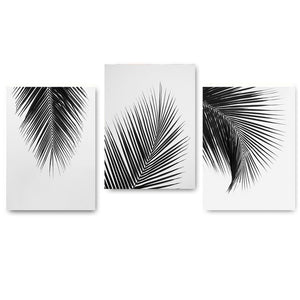 Black & White Palm Tree Leaves Canvas Prints