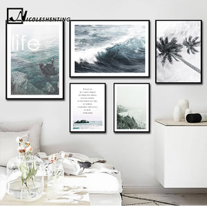 Nordic Decoration Motivational Poster and Prints Life Quote Sea Landscape Wall Art Canvas Painting Decorative Picture Home Decor