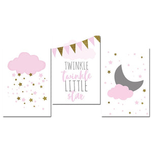 Pink Twinkle, Twinkle, Little Star Nursery Wall Art: Girls Nursery Wall Art