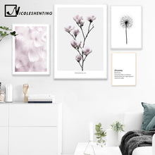 NICOLESHENTING Flower Feather Wall Art canvas Posters Prints Painting Motivational Picture Decorative Picture Nordic Decoration