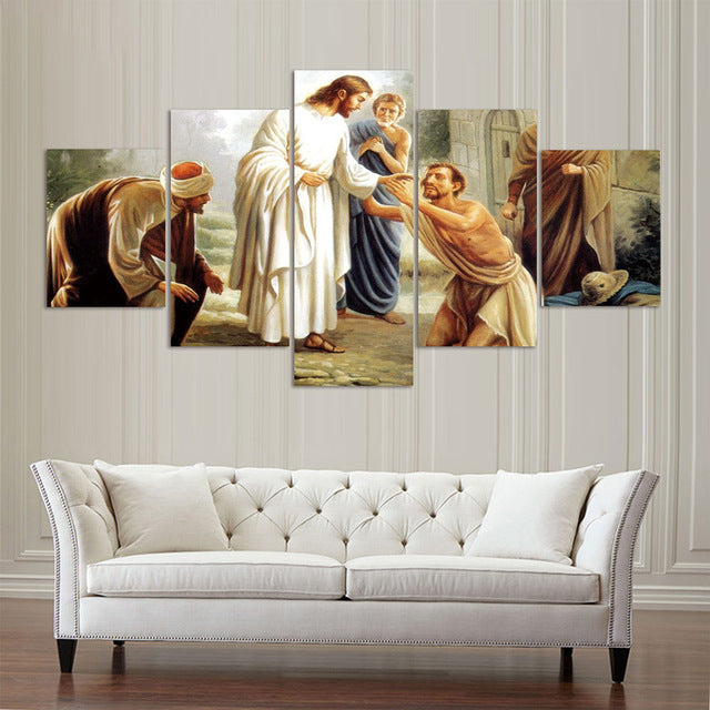 jesus christ healing the sick canvas wall art