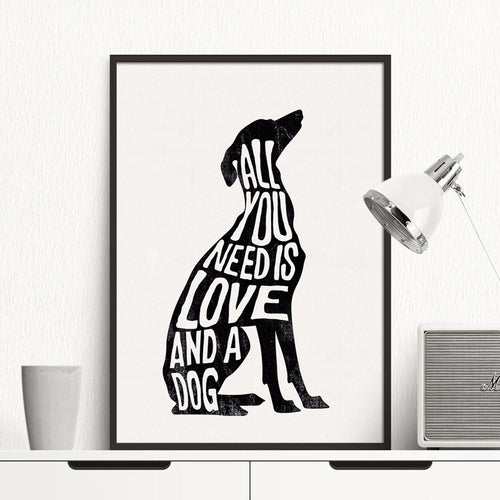 Buy All You Need is Love and a Dog Wall Art | Canvas Art Boutique