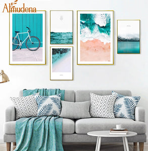 Blue Ocean Snow Mountain Canvas Painting Seascape Wall Art Posters and Prints Nordic Decoration Wall Pictures for Living Room