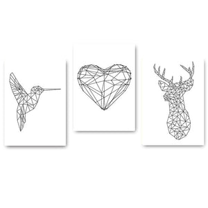 Nordic Style Wall Art Canvas Painting Poster Abstract Print Geometry Deer Heart Decorative Picture for Living Room Home Decor