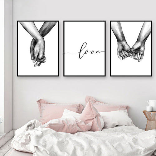 Black & White Holding Hands Wall Art