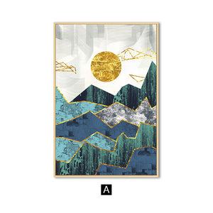 Golden Sun Above the Mountains Geometric Wall Art